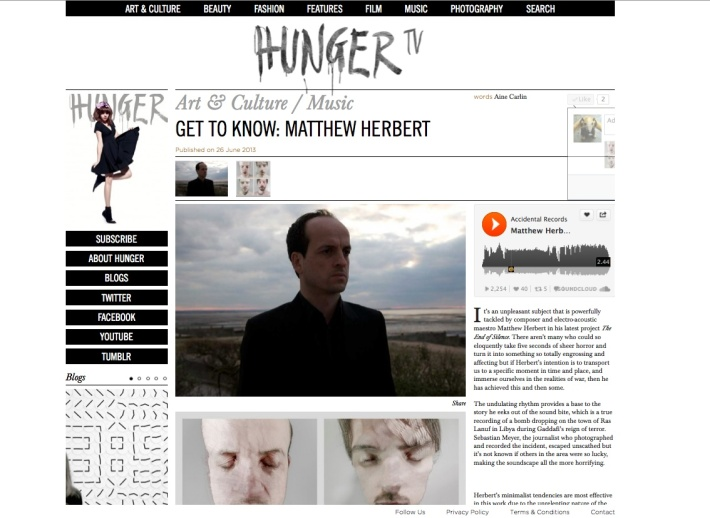 matthew herbert feature hunger tv