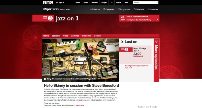HELLO SKINNY IN SESSION RADIO 3